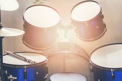 A blue drum kit that a kid practiced every day. Hoping that someday he will be a professional drummer, now he`s no rhythm, but the next day he`ll be adept Royalty Free Stock Images
