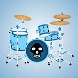 Blue drum kit with a skull Stock Photos