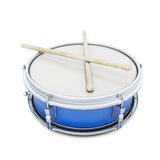 Blue drum with shock sticks. Isolated on white background. 3d illustration. Musi instruments series Stock Images