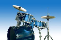 Blue Drums. Isolated over a gradient blue background royalty free stock image