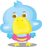 Blue Duck Cartoon Character. Cute graphic of a blue duck cartoon figure in a pink outfit Stock Photo