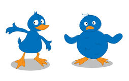 Blue Duckling & Blue Chick Royalty Free Stock Photos