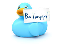 Blue Ducky with be happy sign Royalty Free Stock Photography