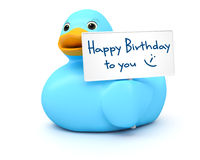 Blue Ducky with happy birthday sign Royalty Free Stock Photography