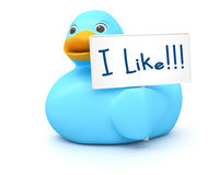 Blue Ducky with I like sign Stock Photography