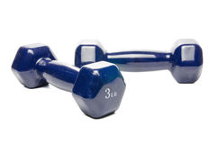 Blue dumbbell Royalty Free Stock Photos