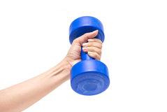 Blue dumbbell isolate on white background Royalty Free Stock Photography