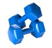 Blue dumbbells. Hexagonal blue dumbbells isolated on white background stock photo