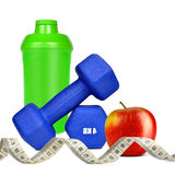 Blue dumbbells with apple and protein shaker Stock Images
