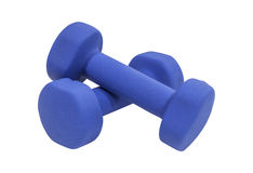 Blue Dumbbells Isolated Royalty Free Stock Image