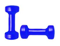 Blue dumbbells isolated on white Stock Images