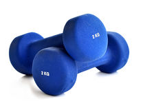 Blue dumbbells Stock Photography