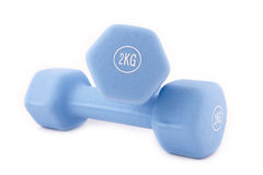 Blue dumbbells  on white Stock Image