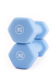 Blue dumbbells  on white Stock Photography