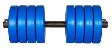 Blue dumbells weight isolated on white Royalty Free Stock Image