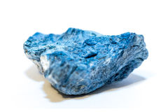 Blue Dumortierite (mineral) on white background.  stock photos