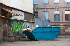 Blue Dumpster Royalty Free Stock Photo