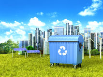 Blue dumpster container standing on green grass . Blue dumpster container standing on green grass, in the background a clean city. 3D illustration Stock Images
