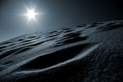 Blue dune. Monochromatic view of a sand dune with sun on background stock photography