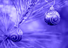 Blue Duotone Christmas Bulbs royalty free stock images