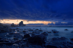 Blue dusk at Basque Country. A blue dusk at Basque Country coast Stock Photography