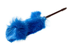 Blue Dust Brush, Fanned. Furniture and Electronics Duster; Fanned Bristles against Blowing Wind Stock Photos
