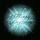 Blue dust firework explosion with Happy Birthday Lettering. Dust firework light effect with glow. Vector Illustration Royalty Free Stock Photos