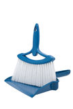 Blue Dustpan and Broom. Positioned for composite of person's hands holding while sweeping up stock images