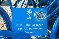 Blue Dutch bikes as indication of a WIFI hotspot Stock Image