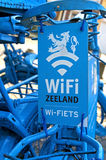 Blue Dutch bikes as indication of a WIFI hotspot royalty free stock photography