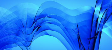 Blue dynamic and luminous waves Stock Image