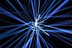 Blue dynamic modern abstract wave energy streaks. On black background Stock Photos