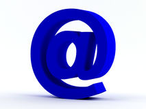 Blue @ e-mail sign. On white Stock Photography