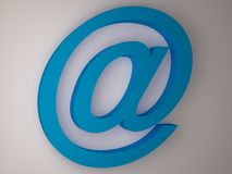 At. Blue E-mail sign on whie background Stock Photo