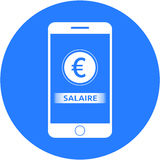 Blue earning and euro sign design in a flat round button Stock Photography