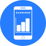 Blue earnings design in a flat round button Stock Photos