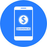 Blue earnings and dollars sign design in a flat round button Royalty Free Stock Photos