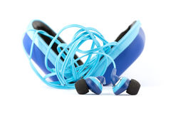 Blue earphones Royalty Free Stock Photos