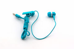Blue earphones. Stock Images