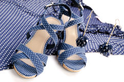 Blue earring, blouse, sandal Royalty Free Stock Images