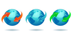 Blue Earth. Globe with colored 3d arrows Stock Photo