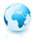 Blue earth. With reflection isolated on white background stock illustration