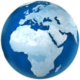 Blue Earth Africa and Europe. 3D rendering of blue earth with detailed land illustration.  Africa and Europe view Royalty Free Stock Photos