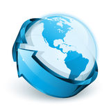 Blue earth with arrow Royalty Free Stock Photo