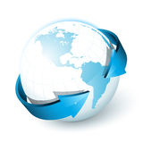 Blue earth with arrows Stock Photography