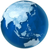 Blue Earth Asia and Australia. 3D rendering of blue earth with detailed land illustration.  Asia and Australia view Royalty Free Stock Photography