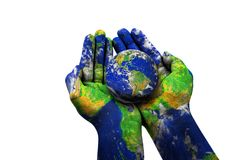 The Blue earth ball on a woman`s hand Royalty Free Stock Photo