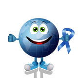 Blue earth with blue ribbon Stock Photo