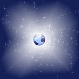 Blue Earth in bright star sparkle space background Stock Photo