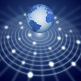 Blue earth communication network system Royalty Free Stock Photography